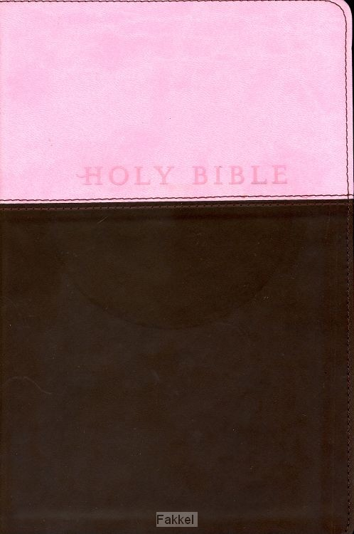 product afbeelding voor: Gift bible NLT leather pink brown